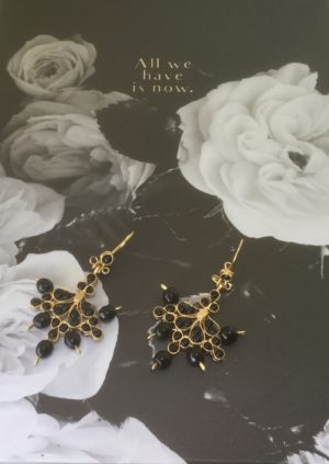 RUBY & MYRTLE ANGELIQUE BLACK EARRINGS