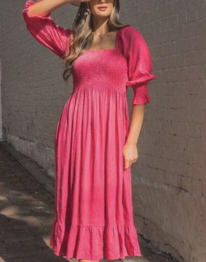 Paper Heart Linen Loves Midi Dress