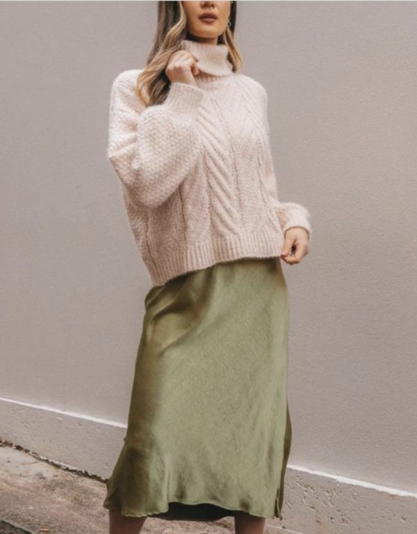 White Closet Pistachio Bias Cut Skirt