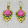 Ruby and Myrtle Pink,Gold & Turquoise Earrings