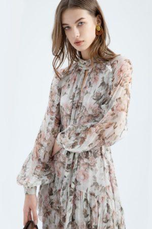 G.D.S. Audrey Ruffle Silk Dress