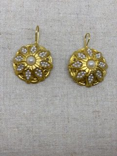 Ruby and Myrtle Gold & Pearl Disc Earrings